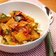Spicy Zucchini and Tomato Stew with Garlic and Mint
