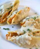 Pumpkin Stuffed Shells with Sage Alfredo Sauce